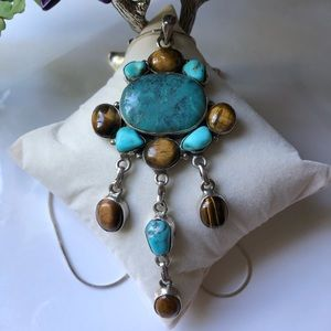 Sterling Silver Turquoise Tigers Eye Necklace